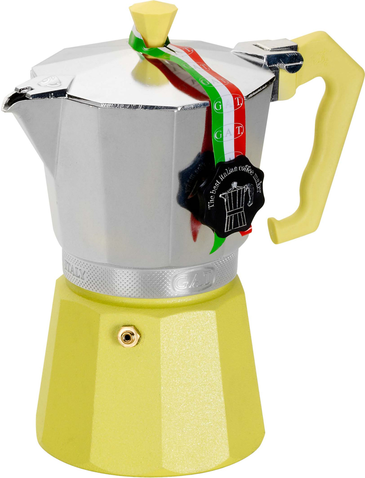 Кофеварка гейзерная G.A.T. 103006 LADY ORO COLOR. Гейзерная кофеварка - это отличная возможность побаловать себя чашечкой великолепного ароматного кофе. Кофеварка рассчитана на 6 чашек. За считанные минуты прибор приготовит ваш любимый напиток и моментально наполнит кухню изумительным ароматом. Прочная алюминиевая основа придает кофеварке легкость и надежность, а стильный дизайн добавит кухонному интерьеру элегантности и особого шарма. Основные отличительные особенности кофеварок Lady Oro Color: удобный носик для наливания кофе; стильный ремень, соединяющий верхнюю и нижнюю части кофеварки; специальное внутреннее покрытие, обеспечивающее легкую очистку и обслуживание; ручка из термостойкого пластика.