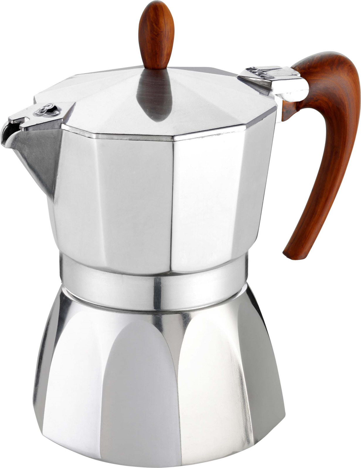 Кофеварка гейзерная G.A.T. 02-030-03 MAGNIFICA. Гейзерная кофеварка - это отличная возможность побаловать себя чашечкой великолепного ароматного кофе. Кофеварка рассчитана на 3 чашки. За считанные минуты прибор приготовит ваш любимый напиток и моментально наполнит кухню изумительным ароматом. Прочная алюминиевая основа придает кофеварке легкость и надежность, а стильный дизайн добавит кухонному интерьеру элегантности и особого шарма. Основные отличительные особенности кофеварок Magnifica: удобный носик для наливания кофе; стильный ремень, соединяющий верхнюю и нижнюю части кофеварки; специальное внутреннее покрытие, обеспечивающее легкую очистку и обслуживание; ручка из термостойкого пластика; кофеварка подходит для использования на всех типах плит, в том числе и индукционных.
