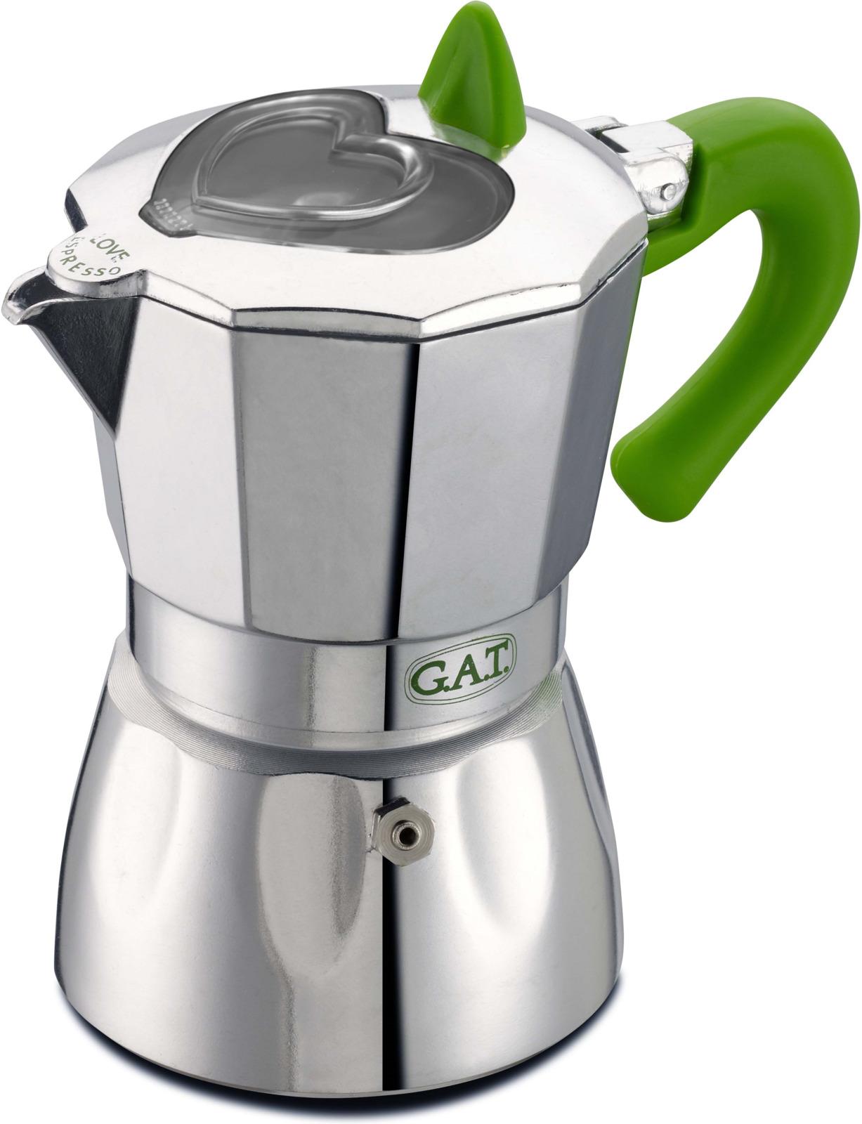 Кофеварка гейзерная G.A.T. 104906N VALENTINA. Гейзерная кофеварка - это отличная возможность побаловать себя чашечкой великолепного ароматного кофе. Кофеварка рассчитана на 6 чашек. За считанные минуты прибор приготовит ваш любимый напиток и моментально наполнит кухню изумительным ароматом. Прочная алюминиевая основа придает кофеварке легкость и надежность, а стильный дизайн добавит кухонному интерьеру элегантности и особого шарма. Основные отличительные особенности кофеварок Valentina: удобный носик для наливания кофе; стильный ремень, соединяющий верхнюю и нижнюю части кофеварки; специальное внутреннее покрытие, обеспечивающее легкую очистку и обслуживание; прозрачное окошко в форме сердца на крышке, позволяющее наблюдать за процессом приготовления; ручка из жаропрочного силикона.