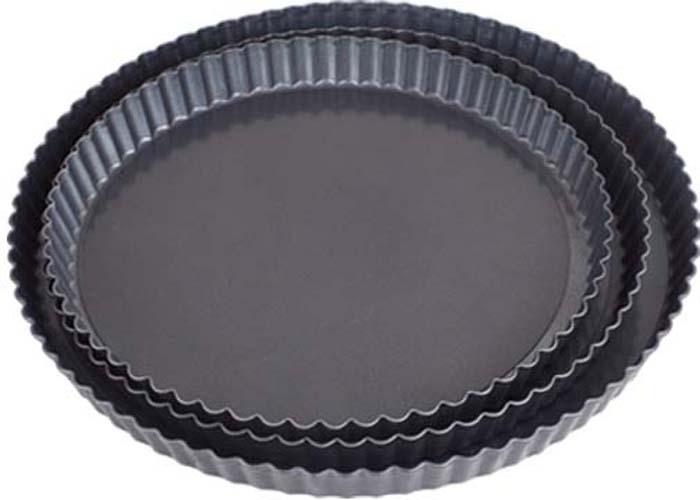 """Набор """"Bekker"""" состоит из трех круглых форм для выпечки, изготовленных из углеродистой стали с антипригарным покрытием Pfluon, благодаря чему пища не пригорает и не прилипает к стенкам посуды. Кроме того, готовить можно с добавлением минимального количества масла и жиров. Антипригарное покрытие также обеспечивает легкость мытья. Стенки форм рифленые, что придает выпечке особую аппетитную форму. Формы оснащены съемным дном, благодаря чему готовое блюдо очень легко вынимать.  Подходят для использования в духовом шкафу. Не подходят для СВЧ-печей. Рекомендуется ручная чистка. Используйте только деревянные и пластиковые лопатки.   Характеристики:  Материал: углеродистая сталь. Диаметр форм: 26,2 см, 30,2 см, 32 см. Высота стенки форм: 2,7 см, 2,8 см, 2,8 см. Толщина стенки: 0,5 мм."""