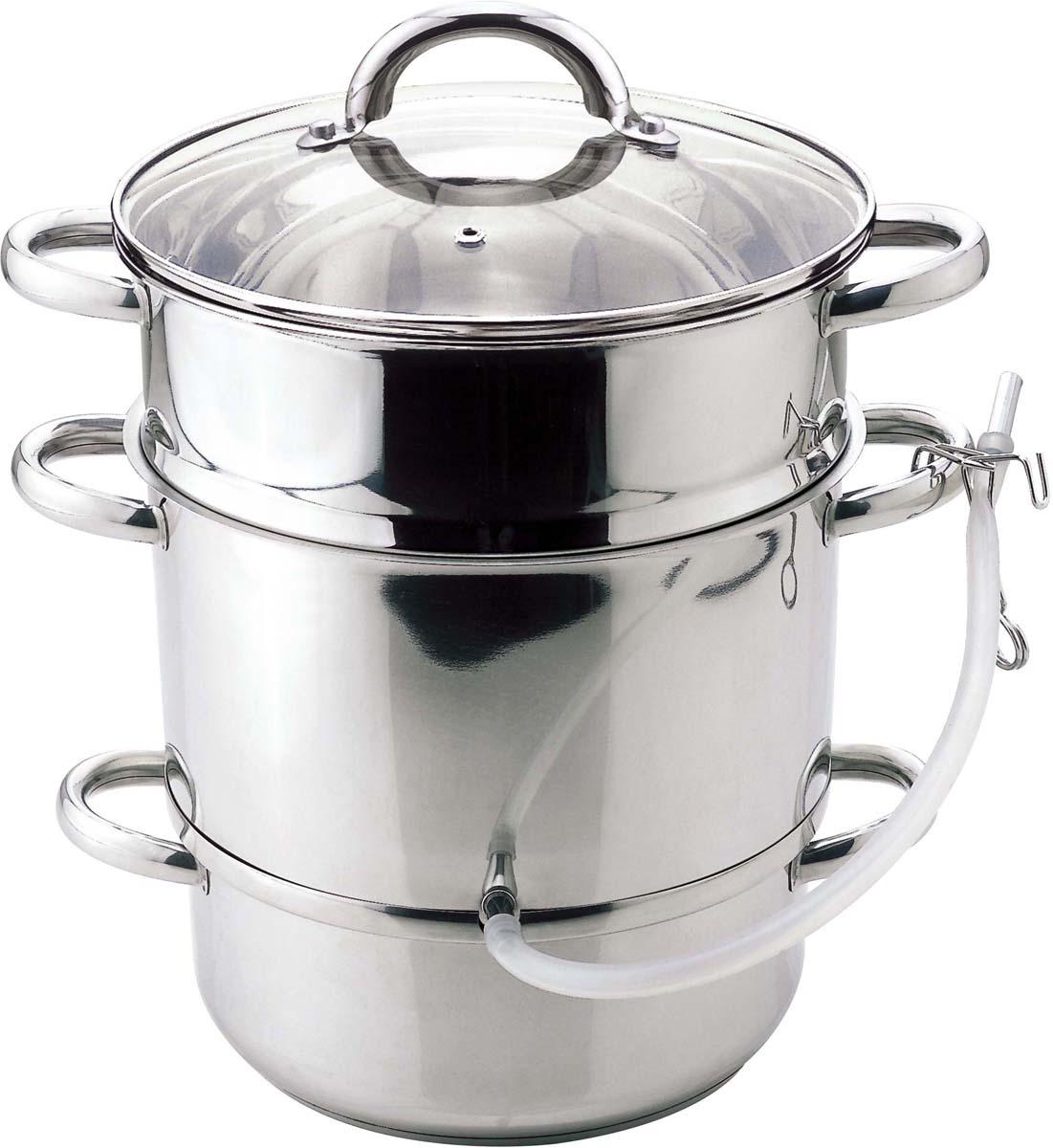 Объем 8л. Кастрюли: нижняя  4,9л(24 х 11см),  кастрюля для сока 2,8(26 х 16см), поддон для фруктов и овощей (26 х 16).Крышка стеклянная, ручки из нержавеющей стали,капсулированное дно.,резиновая трубка для слива сока с зажимом, поверхность зерк.Подходит для индукционных плит и чистки в посудомоечной машине. Состав: нержавеющая сталь.