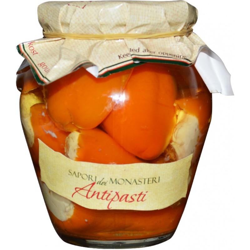 Медовый перец, фаршированный брынзой в подсолнечном масле Sapori dei Monasteri, 314 мл. ст.б. santolino перец черри в оливковом масле 314 мл