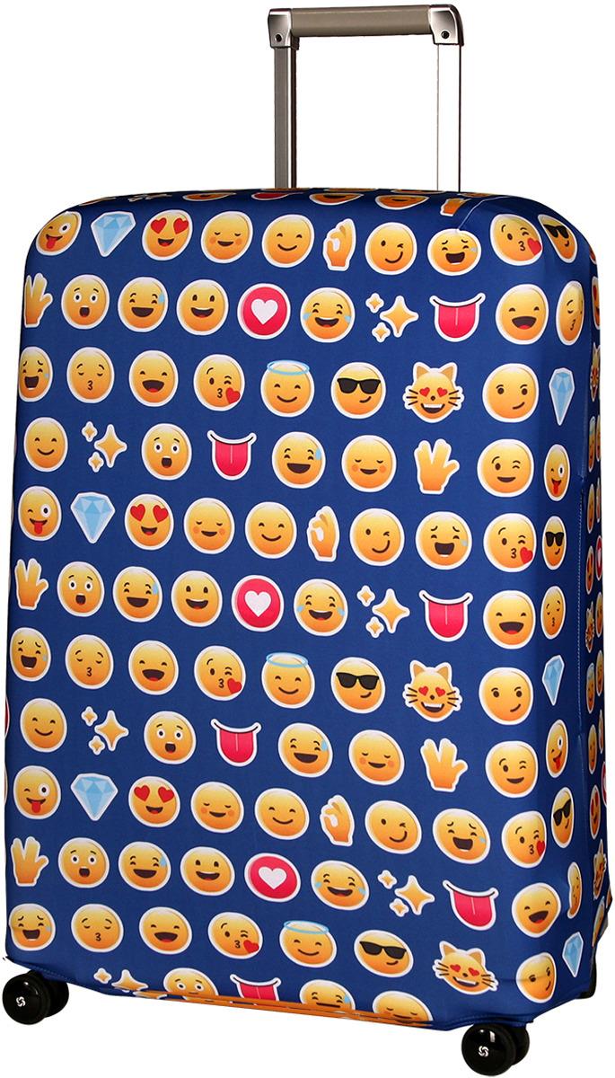 "Чехол для чемодана Routemark ""Эмоджи"", цвет: синий, размер L/XL"