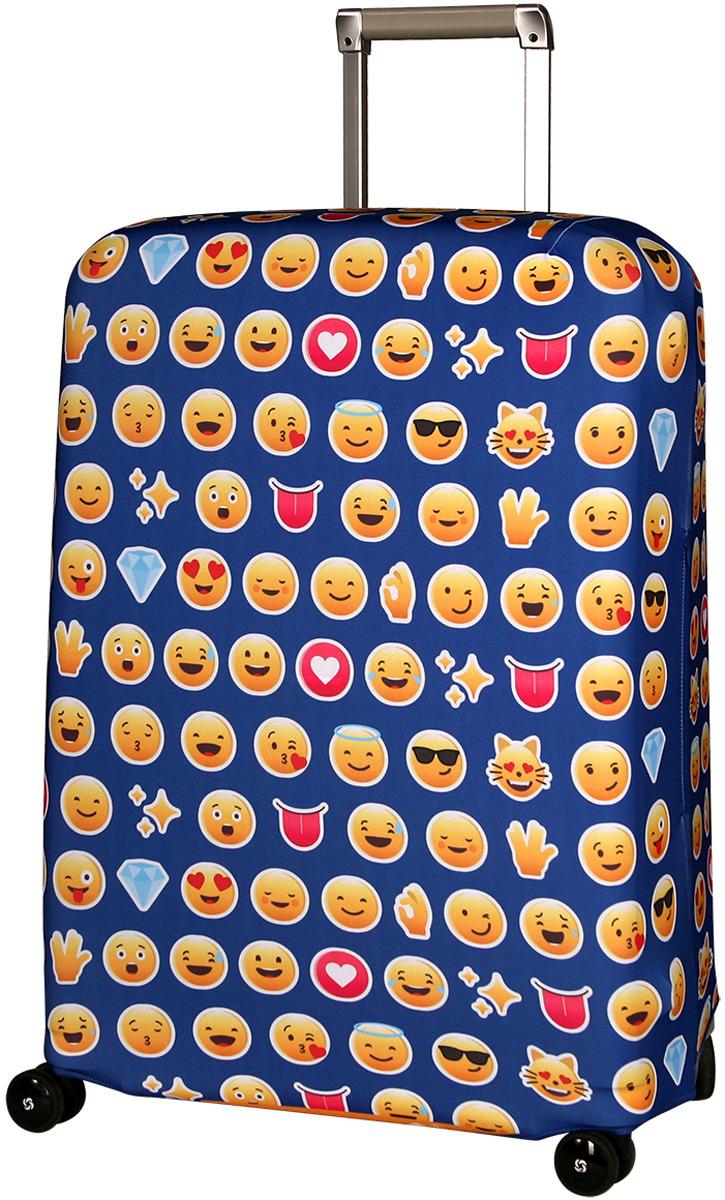 Чехол для чемодана Routemark Эмоджи, цвет: синий, размер M/L