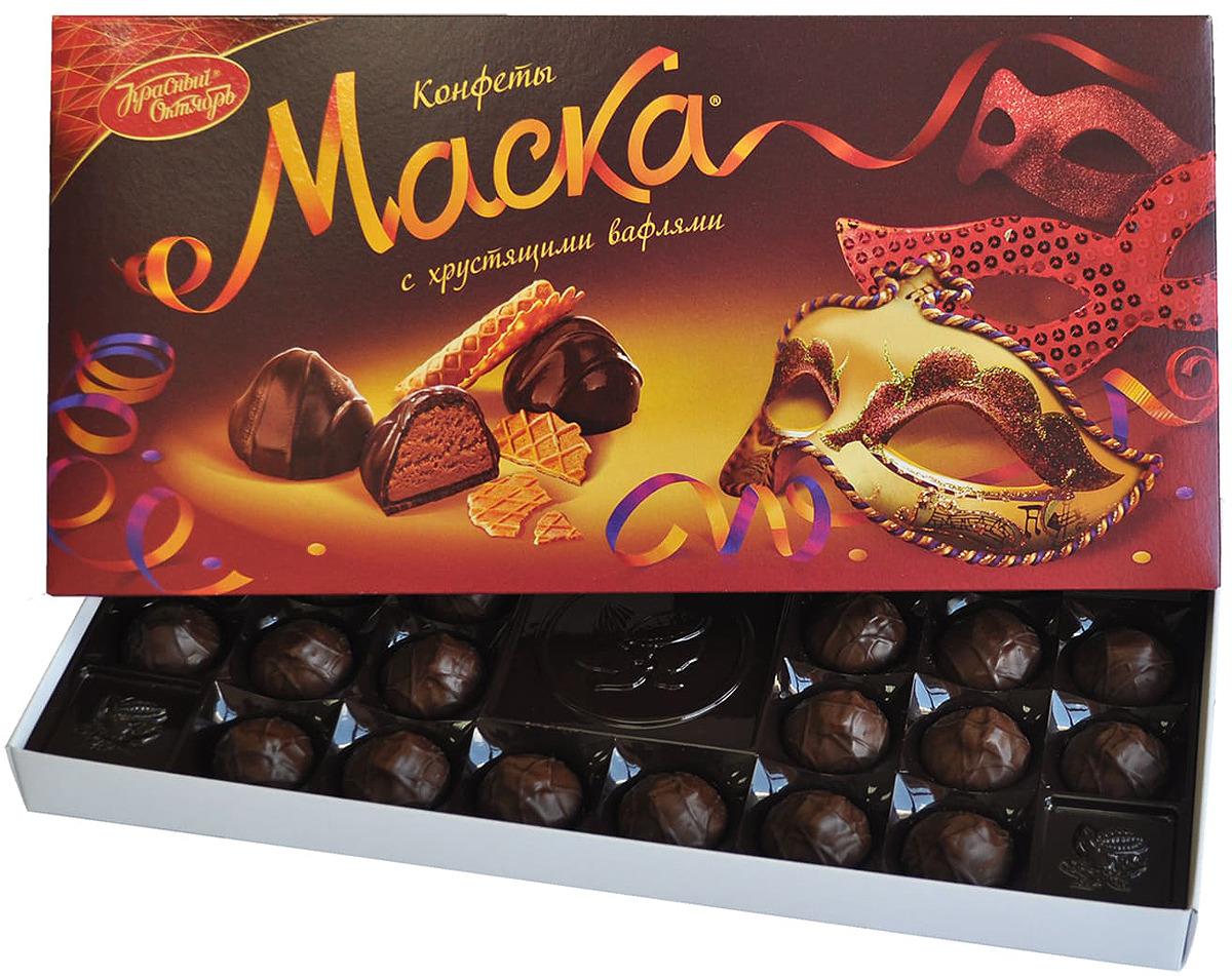 Конфеты с хрустящими вафлями Рот Фронт Маска, 300 г рот фронт золотые купола куполообразные конфеты с пралине в шоколадной глазури 250 г