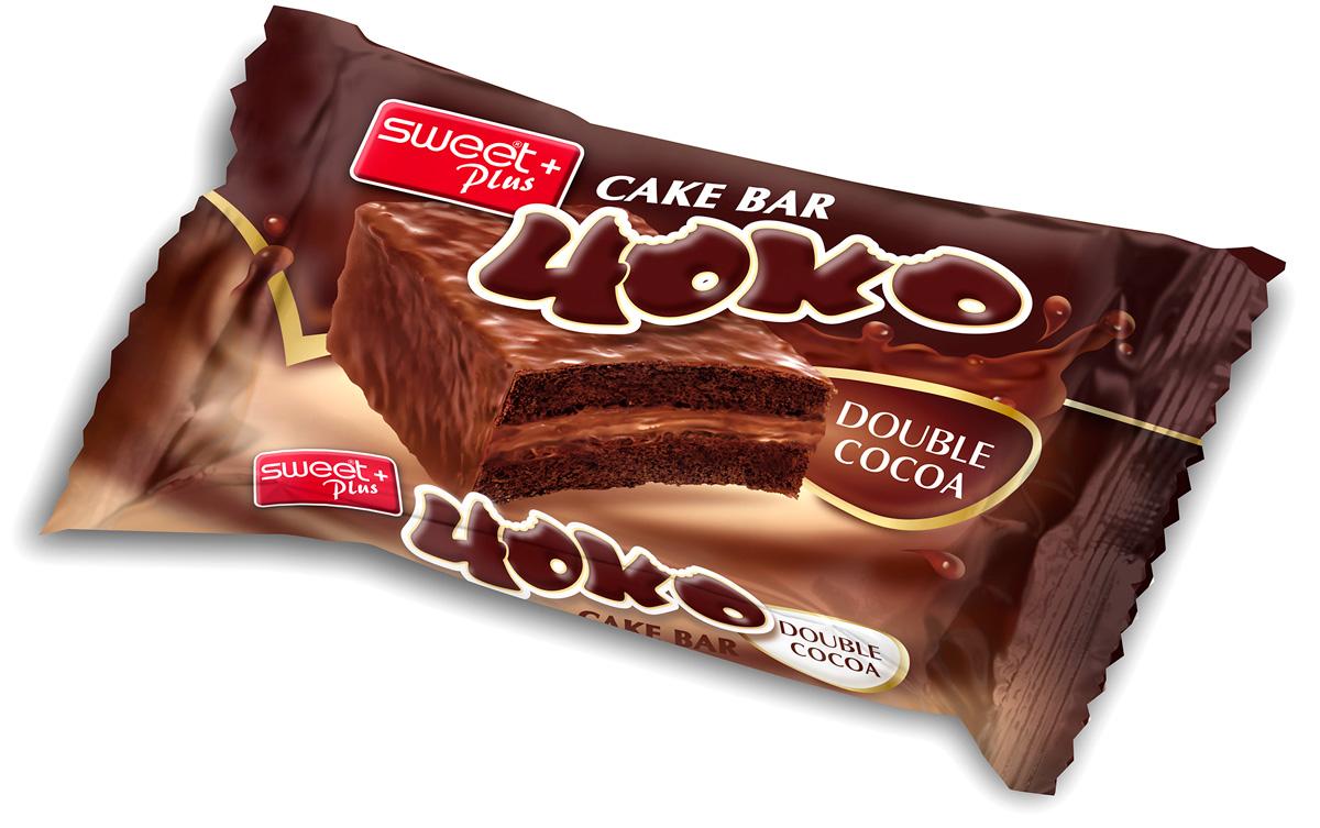 Пирожное бисквитное Sweet + Plus Чоко, со вкусом шоколада, с какао-кремовой начинкой в какао-молочной глазури, 52 г dr oetker глазурь со вкусом темного шоколада 100 г