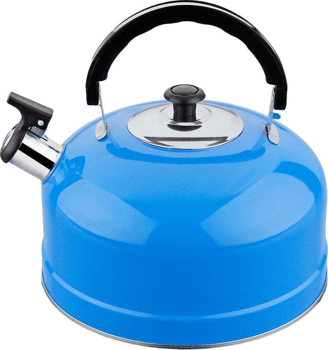 Чайник из нержавеющей стали со свистком, объем 2,5 л. Изготовлен из высококачественной нержавеющей стали, однослойное дно. Подвижная ручка из термостойкого пластика. Ручка не нагревается. Цвет голубой. Полезный объем 2 л.
