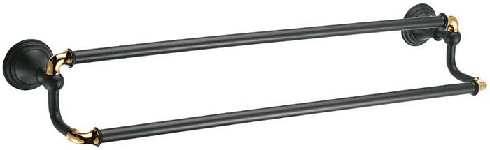 Держатель для полотенец Fixsen Luksor, трубчатый, двойной, цвет: черный, 60 см. FX-71602B держатель для полотенец fixsen antik трубчатый цвет бронза 60 см fx 61101