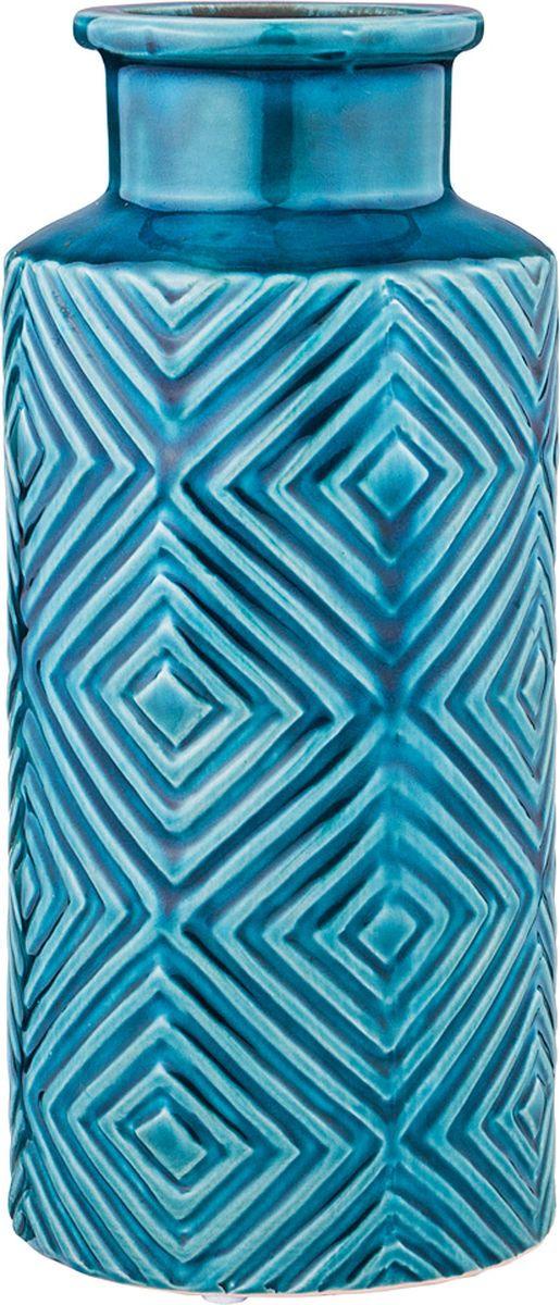 Ваза Lefard, цвет: голубой, 12,5 х 12,5 х 28 см lefard ваза eldora 26 см