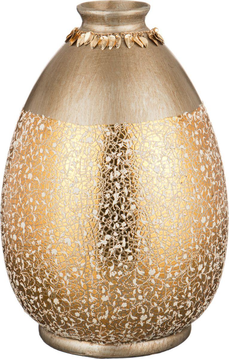 Ваза Lefard Матовый блеск, цвет: золотистый, высота 36 см ваза маки 26 см 2273780