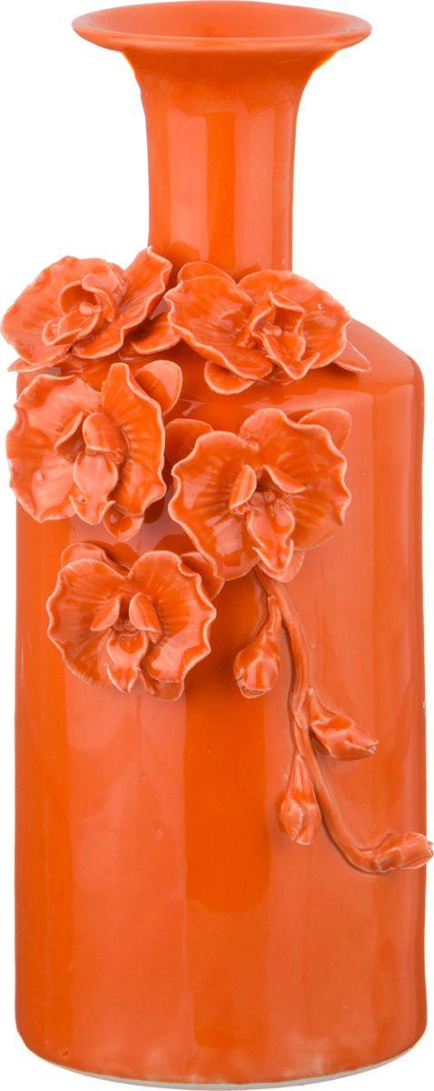 Ваза Lefard Орхидеи, цвет: красный, 12 х 12 х 30 см ваза lefard цвет серебристый 13 х 13 х 12 см