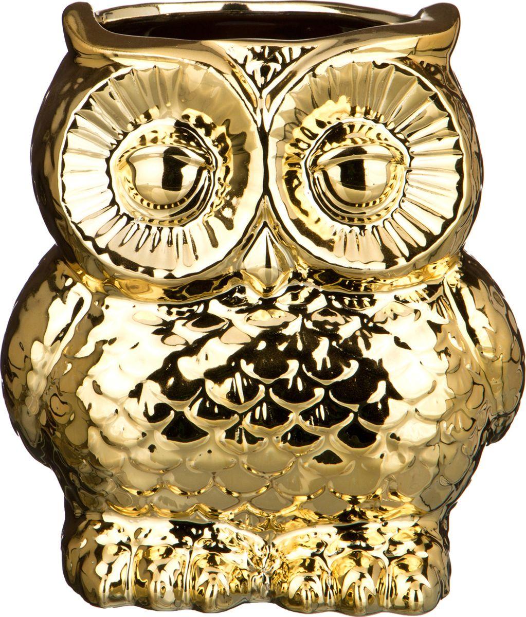 "Ваза Lefard ""Сова"", цвет: золотистый, 16 х 13,5 х 18 см"