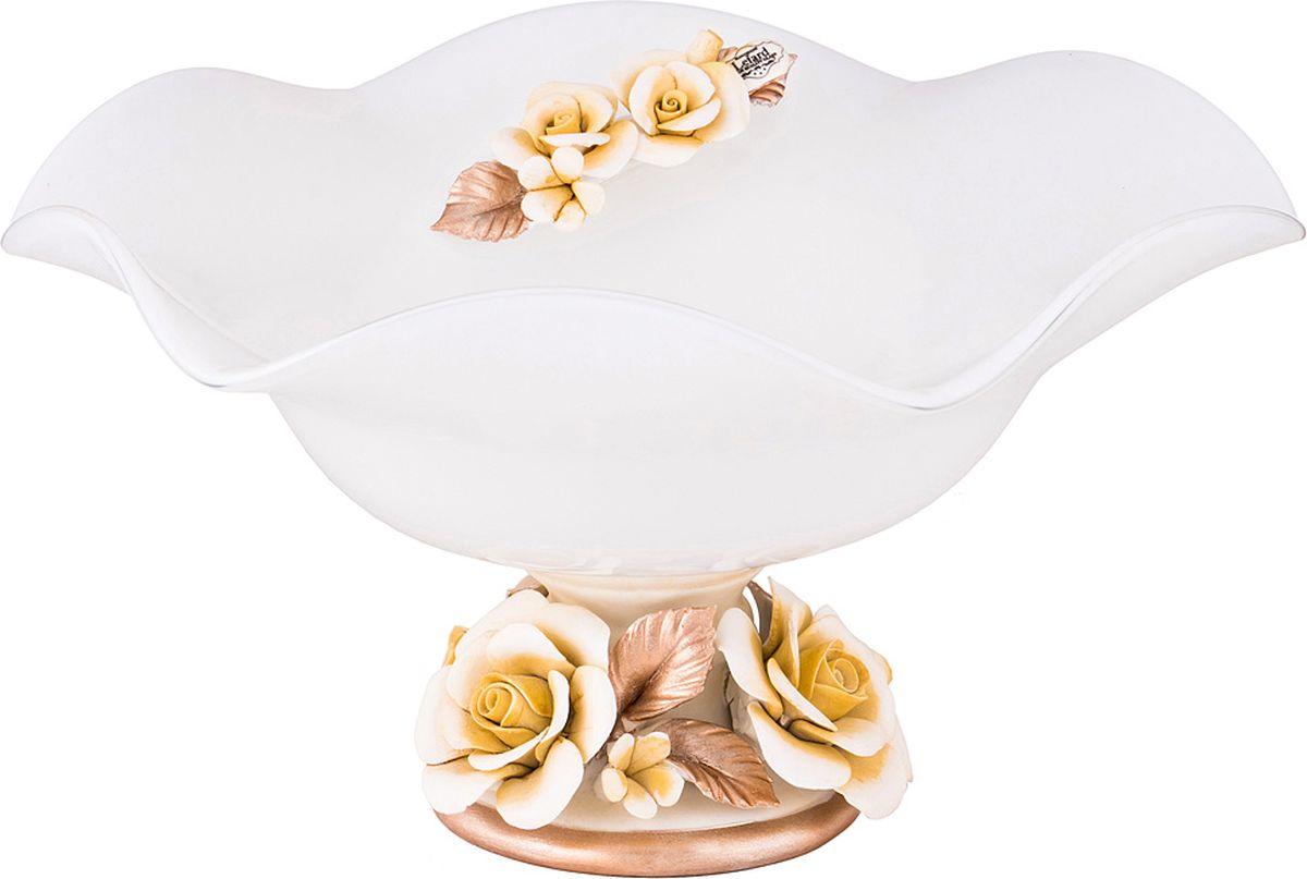 Ваза Lefard Флорентина, цвет: белый, 26 х 26 х 12 см. 2504439 lefard ваза dikla 26 см