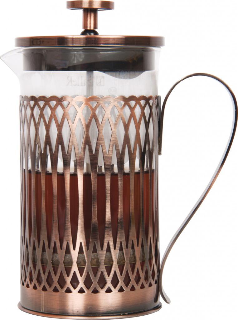 френч-пресс, объем - 350 мл Материалы: боросиликатное стекло, высококачественная нержавеющая сталь, медное покрытие Толщины: стекло - 2,0 мм, подстаканник - 0,8 мм, детали пресс-фильтра - 0,3 мм Рекомендуется ручная мойка