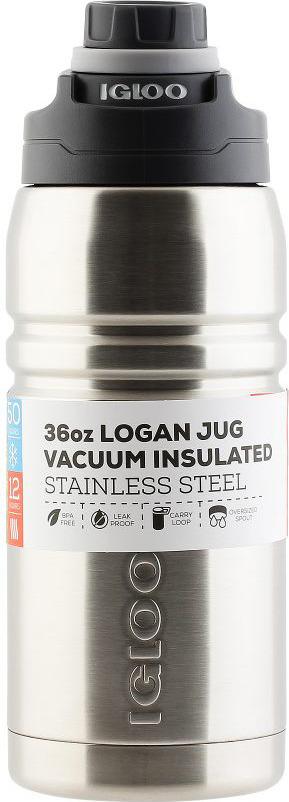 Термос Igloo Logan, цвет: серебристый, 1 л термос stinger 1 л узкий сталь серебристый