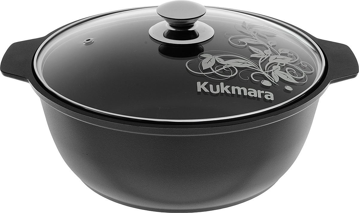 Кастрюля-жаровня Kukmara с антипригарным покрытием, со стеклянной крышкой, цвет: черный, 4 л