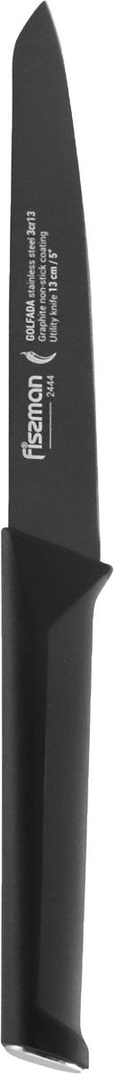 Универсальный нож Golfada с покрытием Graphite 13см изготовлен из нержавеющей стали 3Cr13. Режущие свойства ножей серии Golfada не уступают японским аналогам. К достоинствам ножей из стали 3Cr13 нужно отнести прочность, твердость, устойчивость к износу.