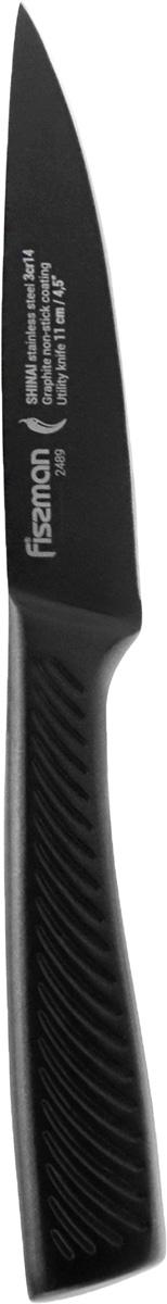 Нож универсальный Fissman Shinai, с покрытием Graphite, длина лезвия 11 см нож хлебный fissman shinai с покрытием graphite длина лезвия 13 см