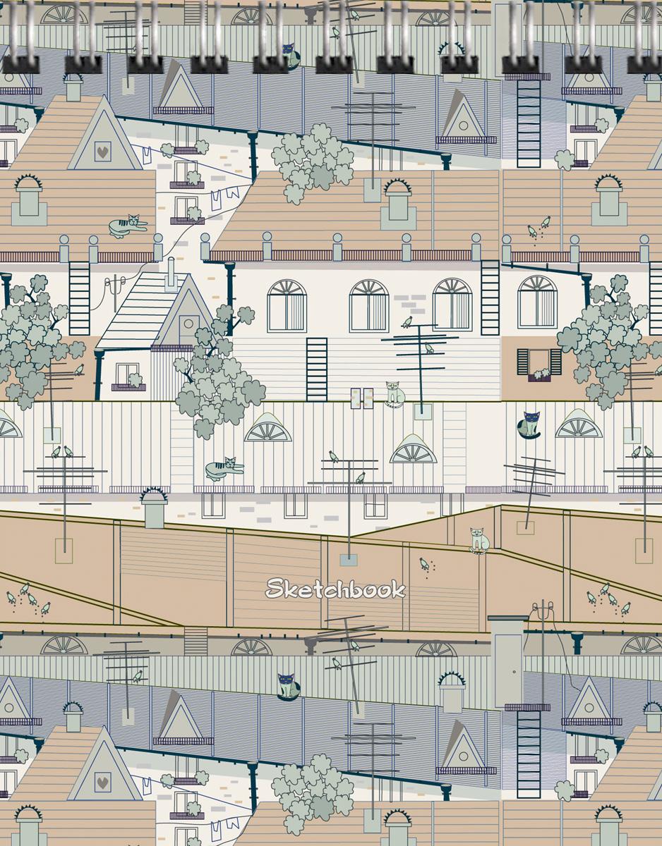 Скетчбук Listoff Крыши города. Графика, 80 листов, формат А6 listoff скетчбук цветовой калейдоскоп 100 листов