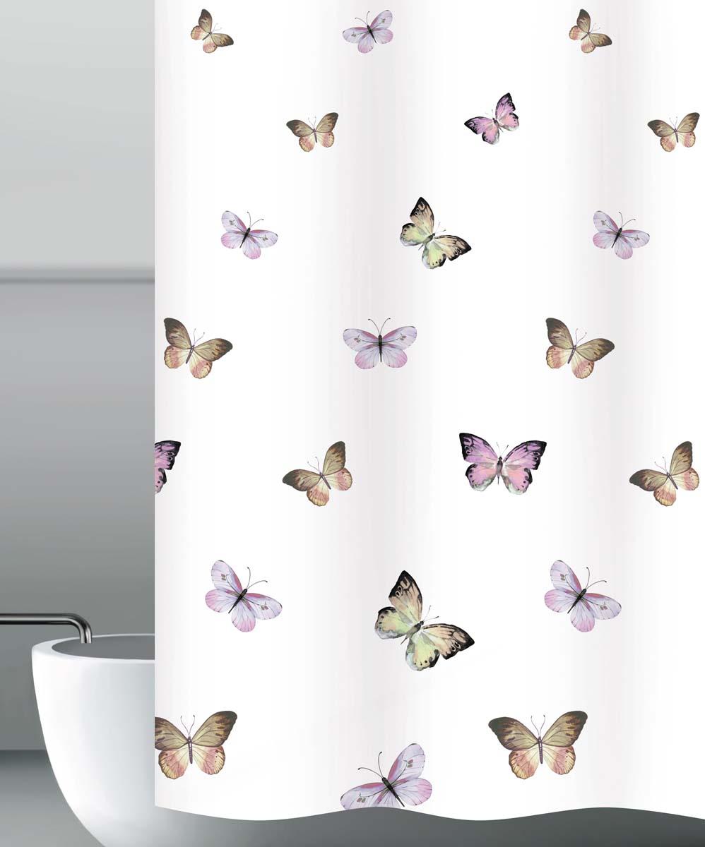 Штора для ванной Бабочки, цвет: белый, 180 х 200 см штора для ванной dasch тетрис цвет белый серый 180 х 180 см