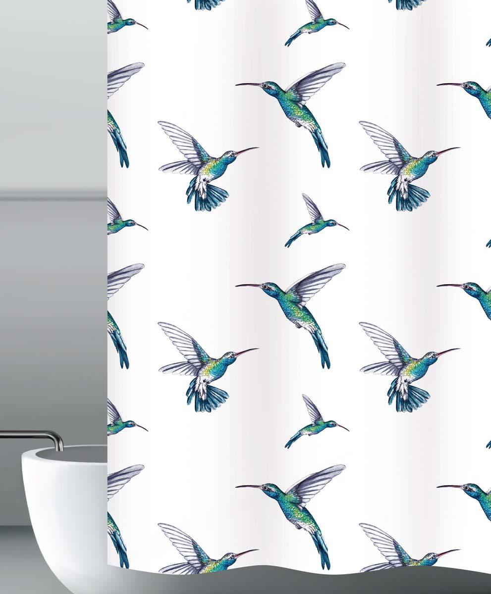 Штора для ванной Колибри, цвет: белый, 180 х 200 см штора для ванной dasch тетрис цвет белый серый 180 х 180 см