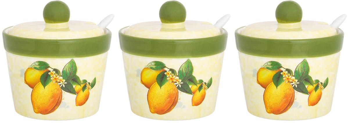Банка для специй «Лимоны» объемом 110 мл с крышкой и ложкой удобная изящная вещица для хранения и сервировки всевозможных специй от сахара и соли, до прованских трав и горчицы. Ложка идет в комплекте с банкой, а крышка плотно прилегает к горлу банки и не позволяет продуктам терять вкус и аромат. В серии «Лимоны» представлен широкий ассортимент товаров для хранения продуктов и сервировки стола, который прекрасно составляется в набор и радует хозяйку и домашних каждый день.