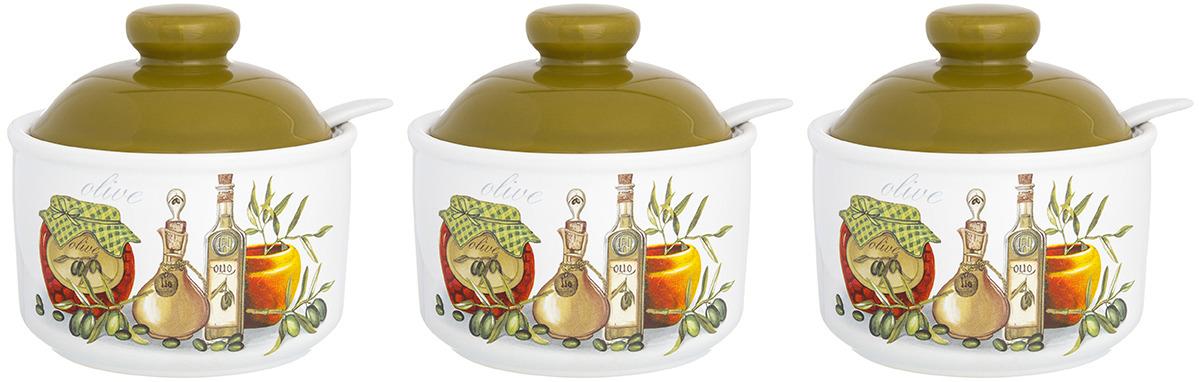 Банка для сыпучих продуктов Elan Gallery Оливковое масло, с крышкой и ложкой, 6 предметов сахарница elan gallery оливковое масло с ложкой и крышкой 300 мл