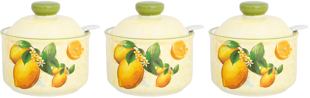 Банка для сыпучих продуктов Elan Gallery Лимоны, с крышкой и ложкой, 6 предметов. 720226_3 сахарница elan gallery лимоны с ложкой и крышкой 375 мл