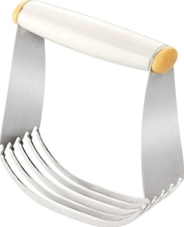 """Мешалка для теста Tescoma """"Delicia"""" отлично подойдет для приготовления песочного и слоеного теста. Рабочая часть из 5 стальных лезвий позволяет быстро измельчать ингредиенты и делать тесто однородным. Удобная ручка выполнена из пластика. Можно мыть в посудомоечной машине."""