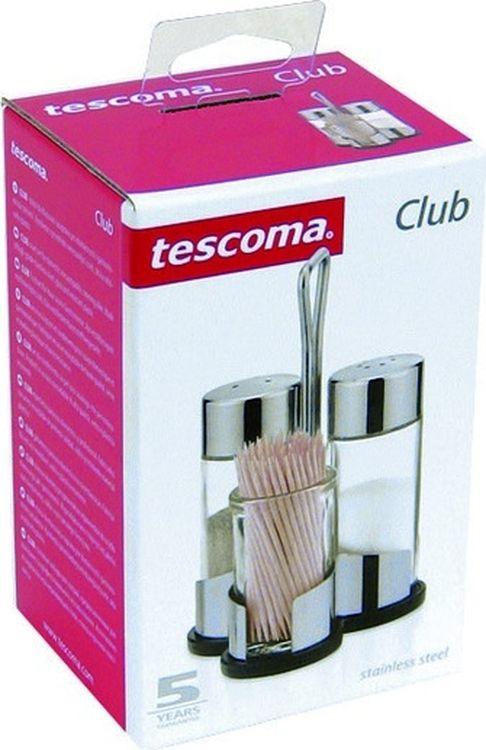 """Набор для специй """"Tescoma"""" состоит из солонки, перечницы и подставки под зубочистки. Изготовлен из первоклассной нержавеющей стали и стекла. Солонка и перечница легки в использовании, с ними вы с легкостью сможете поперчить или добавить соль по вкусу в любое блюдо.  Интересный дизайн, эстетичность и функциональность набора позволят ему стать достойным дополнением к кухонному инвентарю. Диаметр емкости для специй: 3 см.  Высота емкости для специй: 8,5 см.  Диаметр подставки под зубочистки: 3,5 см.  Высота подставки под зубочистки: 5,5 см.  Размер подставки: 8,5 х 6,5 х 12 см."""