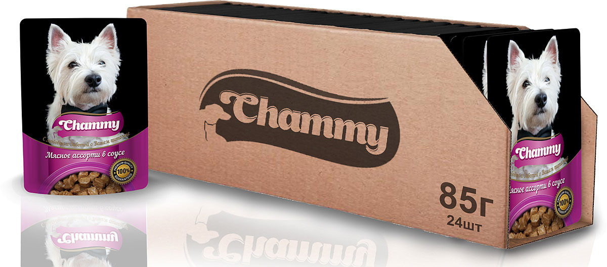 Корм консервированный для собак Chammy, мясное ассорти в соусе, 85 г х 24 шт