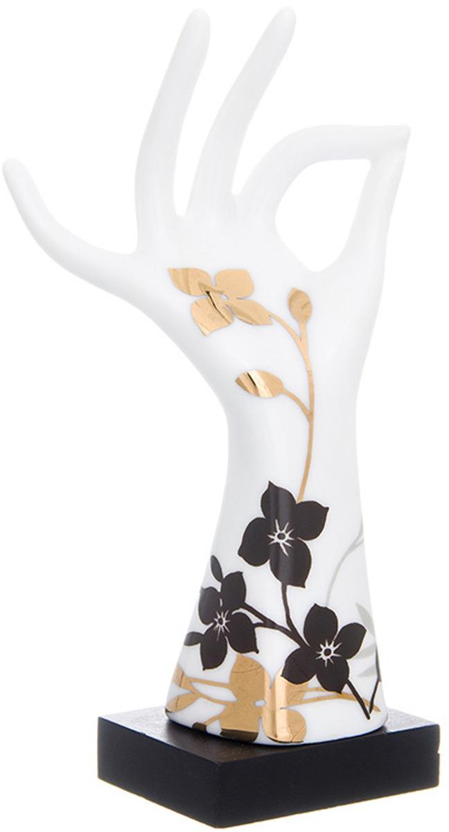 Подставка для колец Elan Gallery Правая рука, цвет: белый, черный, золотой, 5 х 4  14, см