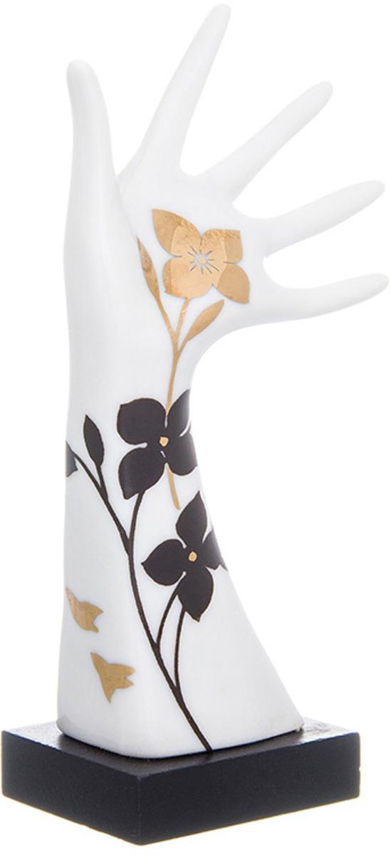Подставка для колец Elan Gallery Дамская ручка, цвет: белый, черный, золотой, 5 х 4 х 14,5 см подставка для колец koziol wow 5 10 14 4 21 6 см