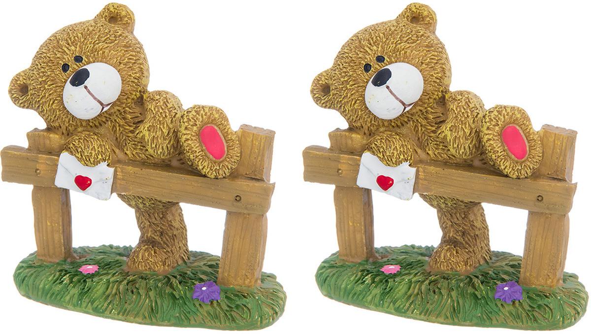 Фигурка декоративная Elan Gallery Медвежонок с письмом, цвет: бежевый, зеленый, белый, красный, 8 х 4,5 х 7,8 см, 2 шт фигурка декоративная собачка 8 х 8 х 13 см