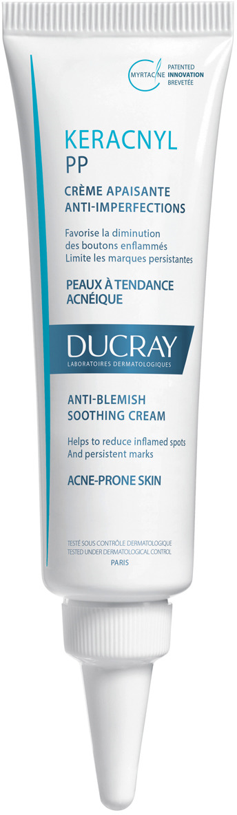 Ducray PP Успокаивающий кремKeracnyl против дефектов кожи, склонной к появлению акне 30 мл акне ducray крем keracnyl pp crème soin apaisant объем 30 мл