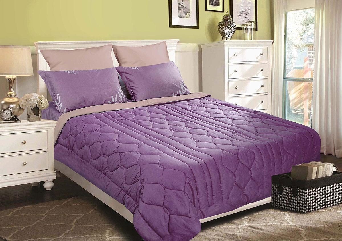 Одеяло-покрывало Primavelle Duo. Классика, цвет: лиловый, светло-коричневый, 180 х 200 см letto двустороннее покрывало одеяло велокот 140 200 см