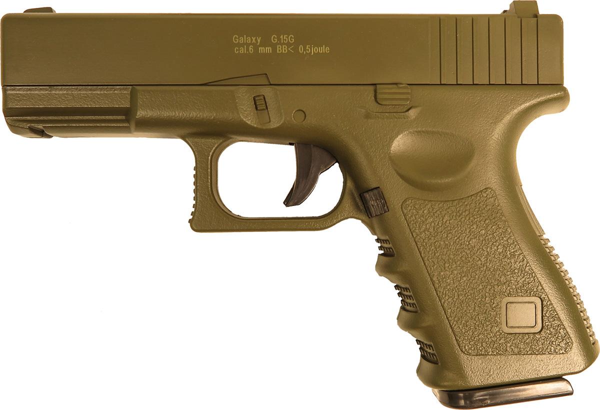 Пистолет софтэйр Galaxy G.15G, цвет: зеленый, пружинный, 6 мм