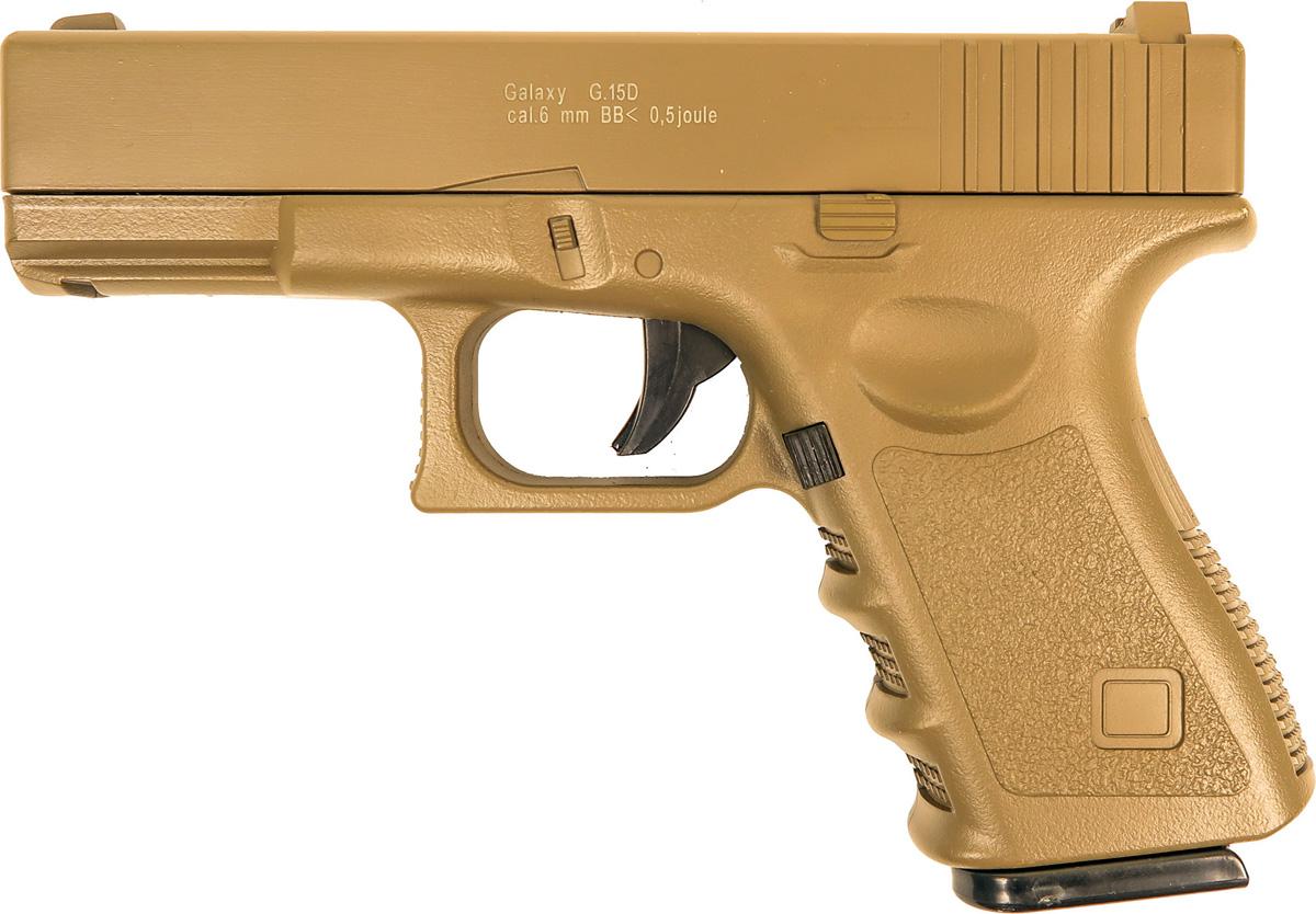 Пистолет софтэйр Galaxy G.15D, цвет: светло-коричневый, пружинный, 6 мм