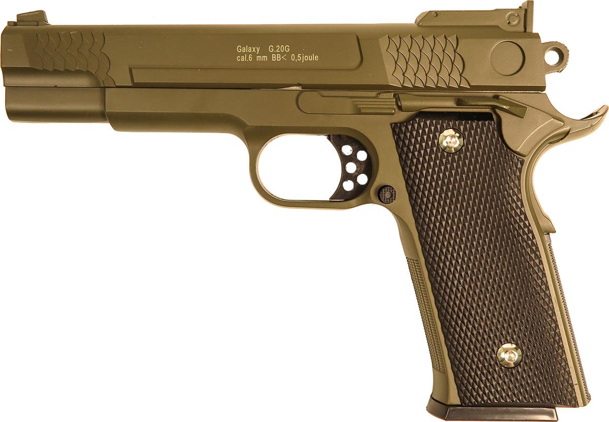 Пистолет софтэйр Galaxy G.20G, цвет: зеленый, пружинный, 6 мм