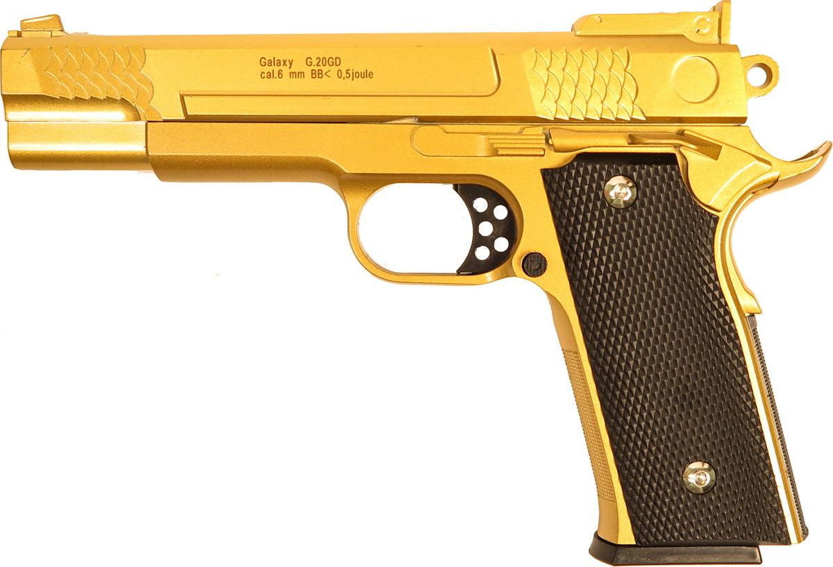 Пистолет софтэйр Galaxy G.20GD, цвет: золотистый, пружинный, 6 мм