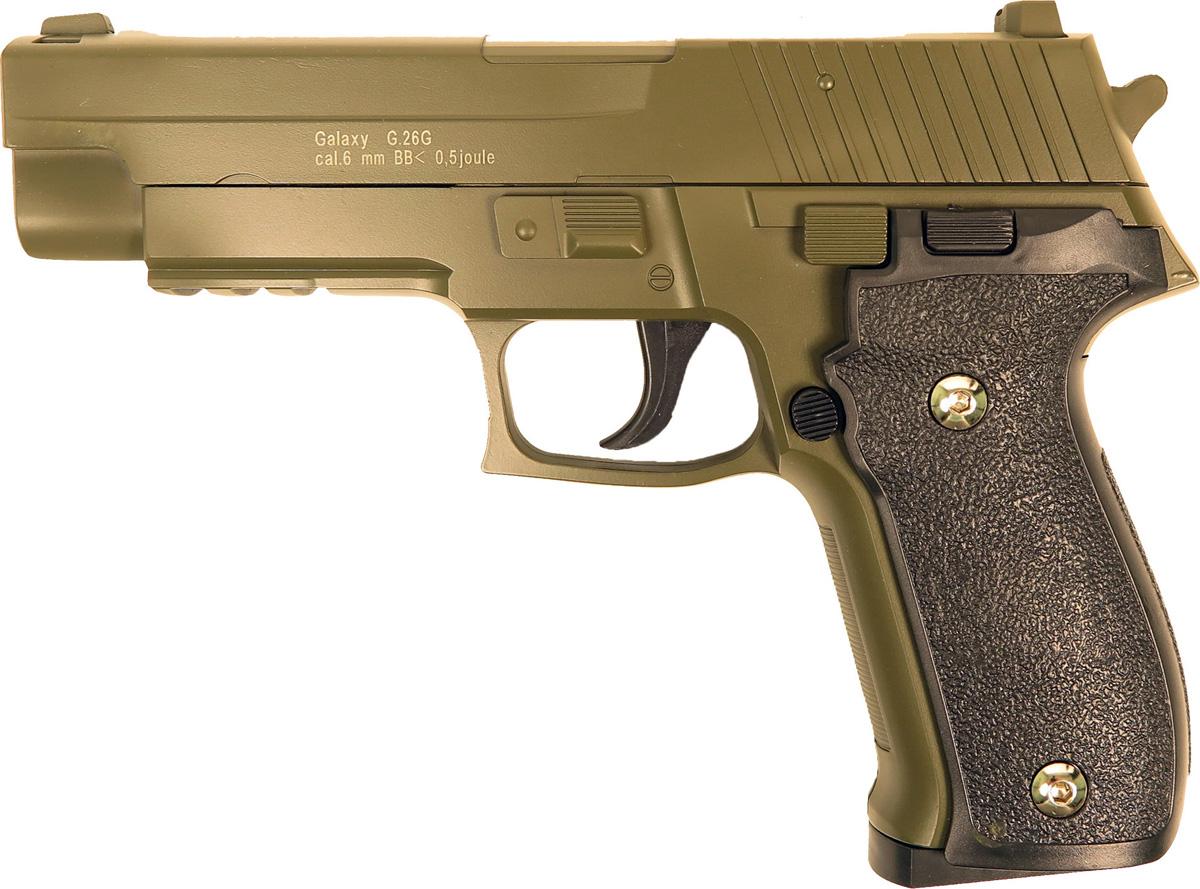 Пистолет софтэйр Galaxy G.26G, цвет: зеленый, пружинный, 6 мм страйкбольный пистолет galaxy g 26 sig sauer 226 с кобурой