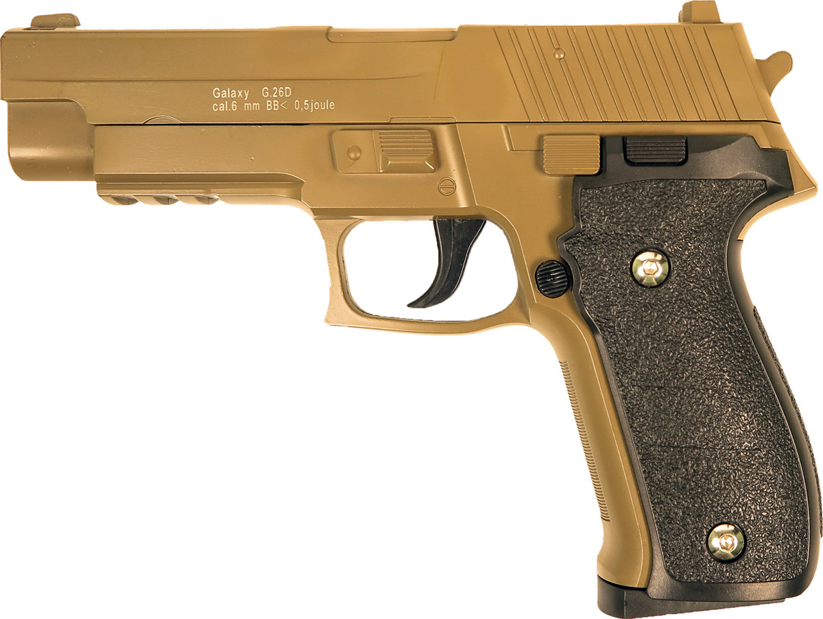 Пистолет софтэйр Galaxy G.26D, цвет: светло-коричневый, пружинный, 6 мм страйкбольный пистолет galaxy g 26 sig sauer 226 с кобурой
