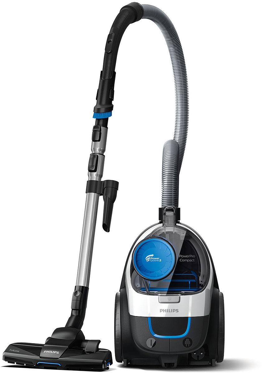 Бытовой пылесос Philips PowerPro Compact FC9332/09, безмешковый, белый, темно-серый пылесос philips fc8389 09