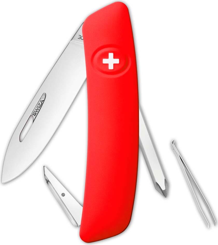 Перочинный швейцарский нож SWIZA D02 Standard, KNI.0020.1001, красный, 95 мм, 6 функций цена