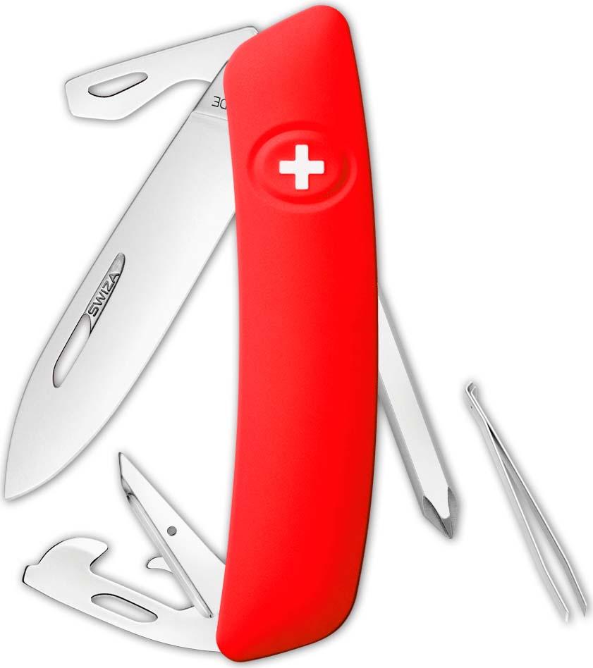 Перочинный швейцарский нож SWIZA D04 Standard, KNI.0040.1001, красный, 95 мм, 11 функций цена