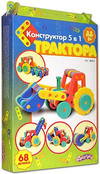 """Развивающие мозаики и конструкторы серии """"Флексика"""" изготовлены из мягкого полимерного материала - современного, легкого, прочного, абсолютно безопасного для ребенка. Конструктор 5 в 1 """"Трактора"""" представляет из себя набор деталей, которые позволяют собрать как минимум пять моделей игрушек. К тому же, комбинируя детали на свой вкус и фантазируя, ребенок может видоизменить и усовершенствовать предложенные варианты или придумать собственные модели. Конструктор способствует развитию и тренировке памяти, пространственного восприятия и фантазии малыша."""