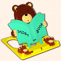 Подставка для книг  Мишка , зеленая -  Школа