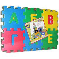 """Коврик-пазл Флексика """"Алфавит"""" обязательно понравится каждому ребенку. Он состоит из 36 разноцветных квадратных фрагментов с буквами алфавита, способных соединяться между собой как паззл. Из деталей коврика можно складывать и плоские, и объемные конструкции (кубы, башни и т.д.) Помимо игрового и обучающего эта игрушка имеет и практическое значение. Детали коврика выполнены из экологически чистого мягкого полимерного материала, обладающего теплоизоляционными свойствами. Это обеспечивает комфорт и удобство в использовании в виде напольного покрытия в детской и ванной комнате или даже на пляже. Мозаика настолько универсальна и практична, что с ней можно играть практически везде. Преимущество предлагаемой мозаики перед другими игрушками заключается в том, что она обучает ребенка, способствует развитию у него мелкой моторики, образного и логического мышления, наблюдательности."""