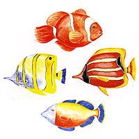 """Украшение для стен и предметов интерьера """"Цветные рыбки"""", Decoretto"""