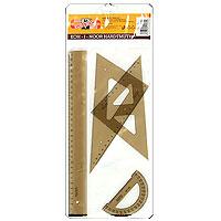 Геометрический набор Koh-i-Noor включает все, что необходимо школьнику на уроках математики:угольник 45x45x90 градусов с разметкой до 12 см;угольник 30x60x90 градусов с разметкой до 17 см;линейку на 30 см;транспортир.Составляющие набора сделаны из пластика дымчатого цвета.